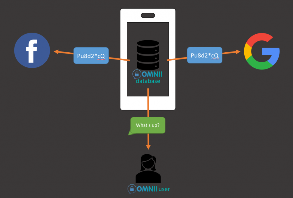Graphic showing that Omnii database is encrypted so if any other applications try to access Omnii data, all they would see is unreadable, encrypted message.